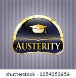 shiny emblem with graduation... | Shutterstock .eps vector #1254353656