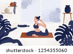 young woman sitting in yoga... | Shutterstock .eps vector #1254355060