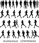 runners silhouettes collection  ... | Shutterstock .eps vector #1254356626