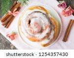 homemade cinnabon buns with... | Shutterstock . vector #1254357430