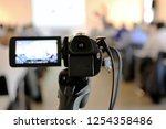 camcorder  tv camera  close up  | Shutterstock . vector #1254358486