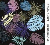 tropical leaves seamless... | Shutterstock .eps vector #1254375433