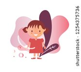 a girl range age 3 years old | Shutterstock .eps vector #1254375736