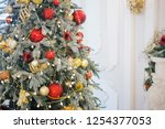 decorated christmas tree ... | Shutterstock . vector #1254377053