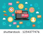 concept nline chat laptop with... | Shutterstock . vector #1254377476