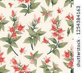 seamless pattern with pink... | Shutterstock .eps vector #1254384163