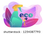green cleaning company employee ... | Shutterstock .eps vector #1254387793