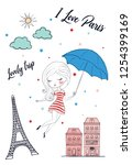 cute girl in paris vector... | Shutterstock .eps vector #1254399169