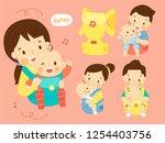 set cute carrier newborn infant ... | Shutterstock .eps vector #1254403756