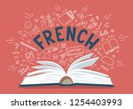 french. open book with language ... | Shutterstock .eps vector #1254403993
