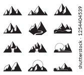 mountains icon set. vector. | Shutterstock .eps vector #1254404539