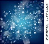 realistic vector snowfall on... | Shutterstock .eps vector #1254413236