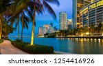 Stock photo miami downtown brickell key at night 1254416926