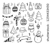 set of christmas doodle... | Shutterstock .eps vector #1254433450