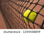 tennis ball in the net | Shutterstock . vector #1254438859