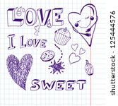 vector cute lovely set. | Shutterstock .eps vector #125444576