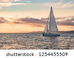 Sailboats on the background of the sunset over the sea