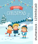 christmas greeting card with...   Shutterstock .eps vector #1254456160