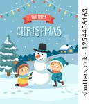 christmas greeting card with...   Shutterstock .eps vector #1254456163