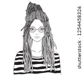 yong girl with  glasses in a... | Shutterstock .eps vector #1254458326