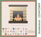 christmas fireplace flat design ... | Shutterstock .eps vector #1254472849