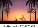 silhouette mother and son...   Shutterstock .eps vector #1254473500