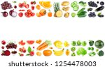 color fruits and vegetables on... | Shutterstock . vector #1254478003