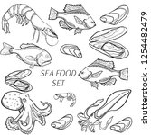 set of sea food products | Shutterstock .eps vector #1254482479