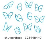 butterflies silhouettes for... | Shutterstock .eps vector #125448440