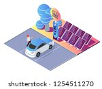 electric car charging station... | Shutterstock .eps vector #1254511270