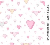 romantic pattern   cute cartoon ... | Shutterstock .eps vector #125451158