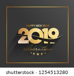 happy new year 2019 text design ... | Shutterstock .eps vector #1254513280