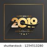happy new year 2019 text design ... | Shutterstock .eps vector #1254513280