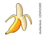 pixel art banana fruit detailed ... | Shutterstock .eps vector #1254515209