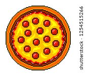 pixel art pizza top view... | Shutterstock .eps vector #1254515266