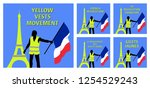 yellow vests movement graphics... | Shutterstock .eps vector #1254529243