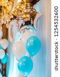 baby boy birthday party decor.... | Shutterstock . vector #1254532600