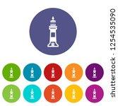 stone beacon icons color set... | Shutterstock .eps vector #1254535090