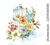 cute watercolor natural floral... | Shutterstock . vector #1254536530