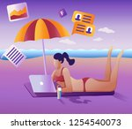 work remotely concept. the flat ... | Shutterstock .eps vector #1254540073
