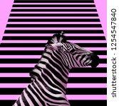Small photo of Minimal Contemporary collage art. Zebra and zebra background.
