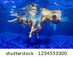 happy family in swimming pool.... | Shutterstock . vector #1254553300