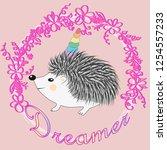 a cute cartoon hedgehog with a... | Shutterstock . vector #1254557233