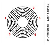 black round maze. game for kids.... | Shutterstock .eps vector #1254558463