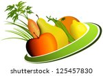 fruit and vegetable mix | Shutterstock .eps vector #125457830