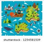 cartoon pirate map treasure ...   Shutterstock .eps vector #1254581539