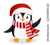 penguin in a hat and scarf... | Shutterstock .eps vector #1254584110