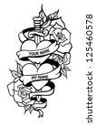doodle couple of hearts in...   Shutterstock . vector #125460578