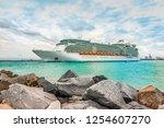 cruise ship in port. | Shutterstock . vector #1254607270