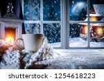winter windows in a christmas... | Shutterstock . vector #1254618223